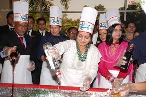 CM Kiran Kumar Reddy Wife Radhika Reddy at ITC Grand Kakatiya Cake Mixing